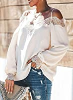 BLENCOT Women's Lace V Neck Strappy Cold Shoulder Long Sleeve Shirts Casual Loose Blouses Tops
