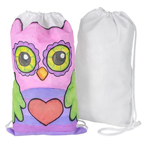 Color Your Own Arts And Crafts Drawstring Backpack Tote Bags (12)