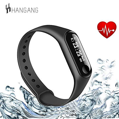 Hangang Fitness Tracker, Heart Rate Monitor Tracker Smart Bracelet Activity Tracker Bluetooth Podómetro con Sleep Monitor Smartwatch para iOS y Android o iOS Smartphones para Adultos
