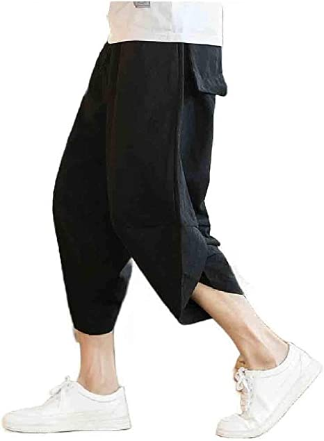 AngelSpace Mens Pure Color Summer Relaxed Plus Size Loose Fit Breathable Pants