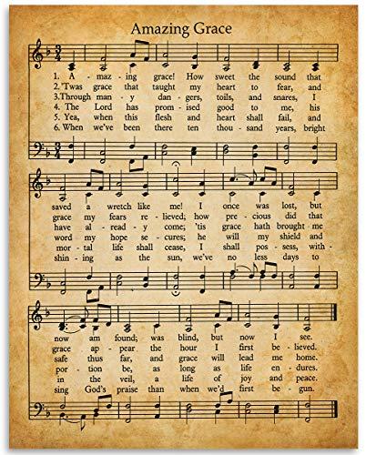 Amazing Grace Music and Lyrics - 11x14 Unframed Art Print - Makes a Great Inspirational Gift Under $15