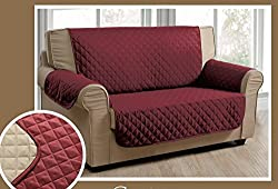 Reversible Sofa Cover (burgundy / taupe)
