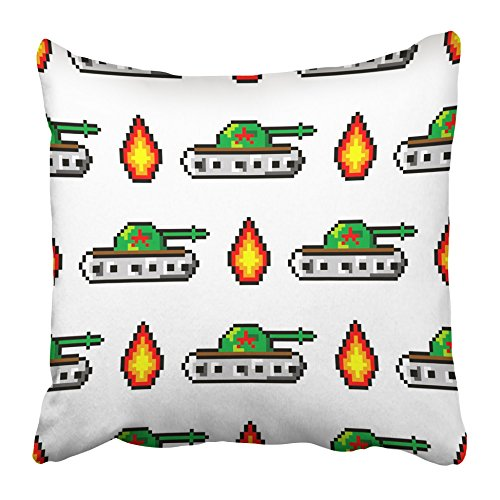 Emvency Decorative Throw Pillow Covers Cases Military Pixel to Create Tanks Fire Boys Trendy 80S 90S Style Aim Applique Armored Asset 16x16 inches Pillowcases Case Cover Cushion Two Sided