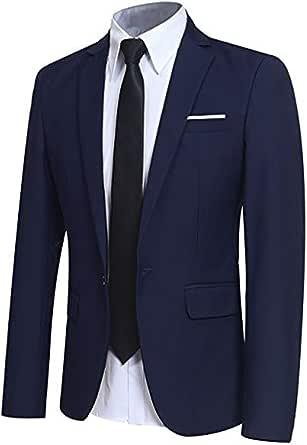 Chaqueta Casual para Hombre Slim Fit Chaquetas de Traje Formal de Negocios Un botón de un Solo Pecho Chaqueta de Esmoquin Chaqueta Elegante