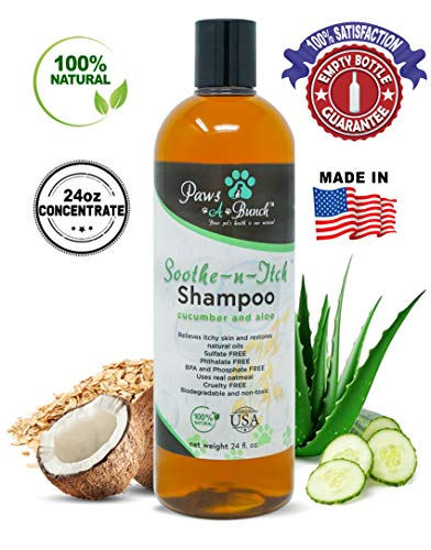 Paws-A-Bunch Soothe-N-Itch Natural Colloidal Oatmeal Dog Shampoo for Dogs and Cats-Hypoallergenic and Soap Free with Natural Coconut Oils and Aloe for Allergies & Sensitive Skin (24oz)