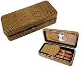 AMANCY Elegant Snake Pattern Leather Cedar Wood Lined 3 Cigar Case with Silver Stainless Steel Cutter Set