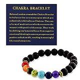 Believe London Chakra Bracelet With Jewelry Bag & Meaning Card | Adjustable Bracelet To Fit Any Wrist | 7 Chakra Natural Stone | Healing Reiki Yoga (8 Inch Bracelet)