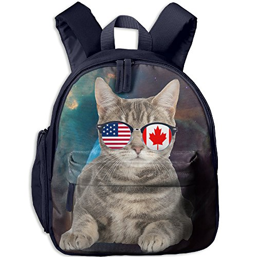 American Canadian Flat Cat Sunglasses Kids Casual Lightweight Canvas Backpacks School Rucksack Travel - Canadian Sunglasses