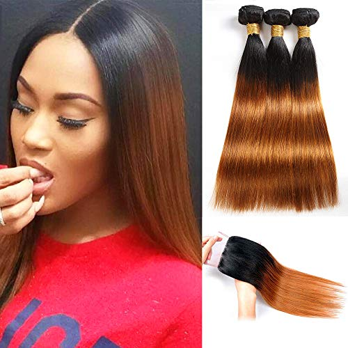 Feelgrace Hair Ombre Brazilian Straight Hair Two Tone Blond 1B/30 Hair Extensions. Black to Dark Brown Silky Straight Virgin Human Hair(10 12 14 with 10)