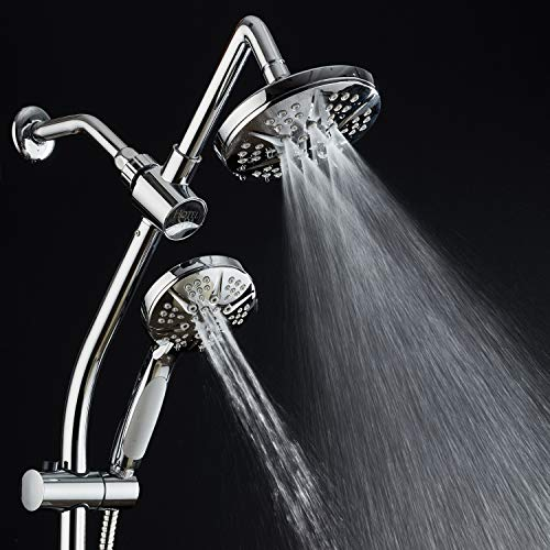 Spa Station 34'' Adjustable Drill-Free Slide Bar with 48-setting Showerhead Combo & Height Extension Arm / 3-way Rain & Handheld Shower Head/Low Reach Diverter/Stainless Steel Hose/Chrome by Hotel Spa (Image #4)