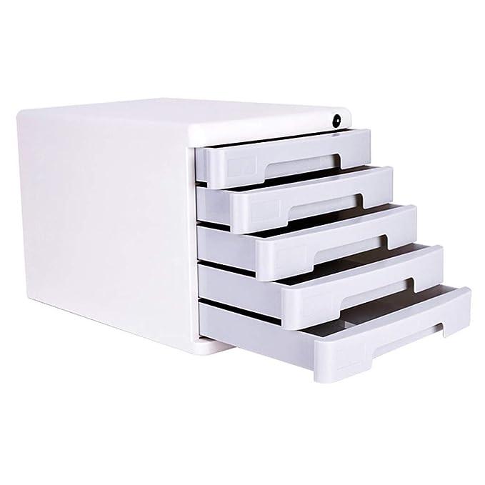 Archivador de archivos QIQIDEDIAN A4 Acabado de Datos Gabinete de Almacenamiento Cajón Tipo Caja de Archivo de Bloqueo de Cinco Capas (Color : Gray): ...