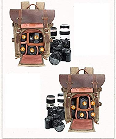 Khaki MonthSir Camera Bag Backpack DSLR Mirrorless Camera Case for Lens Tripod Tablet with Waterproof Canvas Professional Camera Bag Backpack