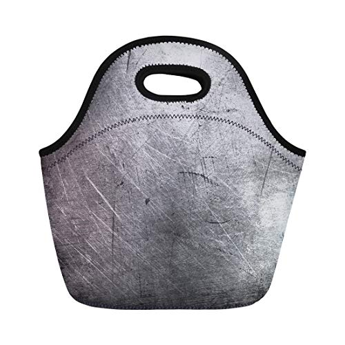 Semtomn Lunch Tote Bag Silver Iron Scratched Metal Abstract Bronze Industrial Aluminum Antique Reusable Neoprene Insulated Thermal Outdoor Picnic Lunchbox for Men Women