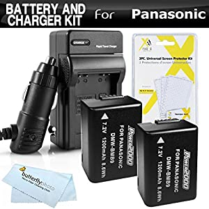 2 Pack Battery And Charger Kit For Panasonic Lumix DMC-FZ70, DMC-FZ70K, DMC-FZ60 DMC-FZ100 DMC-FZ40 DMC-FZ47 DMC-FZ150 Digital Camera Includes 2 Extended Replacement DMW-BMB9 Rechargeable Lithium-Ion Battery (1200Mah) (with Info-Chip!) + Charger + More