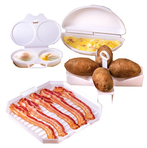 Bacon Microwave Dish (4 Piece Microwave Cookware Set Includes Microwave Bacon Cooker, Egg Poacher, Omelet Maker And Potato Baker for Perfect Baked Potatoes In Your Microwave Oven - Dishwasher Safe)