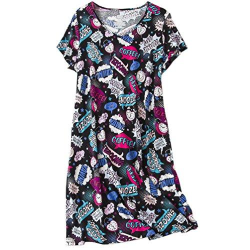ENJOYNIGHT Womens Cotton Sleepwear Short Sleeves Print Sleepshirt Sleep Tee (Coffee Clock,XXL)