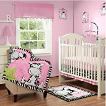 Baby Boom I Luv Zebra 3pc Crib Bedding Set Pink