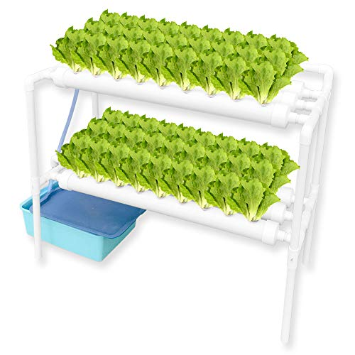 WEPLANT PVC Pipe Hydroponic System 54 Plant Holes with Mute Pump and Sponge, Hydroponic Hutdoor Garden for Strawberry and Vegetable