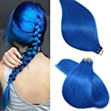 Bleaching Hair Is A Chemical Change - SeaShine Tape in Hair Extensions #Blue 100% Remy Human Hair Extensions Silky Straight for Fashion Women 20 Pcs/Package(20Inch #Blue 50g)