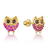 14k Gold Plated Brass Baby Red Owl Screwback Girls Earrings with Sterling Silver Post