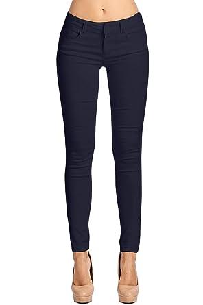 2aa37af867293 2LUV Women's Stretchy 5 Pocket Skinny Color Uniform Pants Back to School  Junior Clothing Apparel Navy