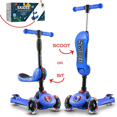 Scooter For Kids with Folding Seat – 2019 NEW 2-in-1 Adjustable 3 Wheel Kick Scooter for Toddlers Girls & Boys – Fun Outdoor Toys for Kids Fitness, Outside Games, Kid Activities – Boy & Girl Toys