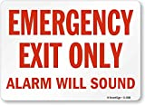 ''Emergency Exit Only, Alarm Will Sound'' Sign by SmartSign | 10'' x 14'' Plastic