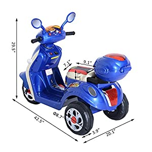 3 Wheel Kid Ride on Motorbike Car 6V Electric Battery Powered Outdoor Scooter