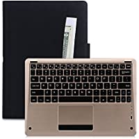iPad Pro Case, FYY [Luxury Gold Keyboard] Magnetically Detachable Wireless Bluetooth Keyboard Leather Case Smart Cover with Note Holder for Apple iPad Pro 12.9 (2015) Black