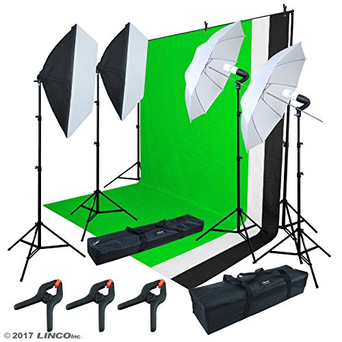 LINCO Lincostore 2.9M x 3M/ 9.5ft x 10ft Background Support System kit and 800W 5500K Umbrellas Softbox Continuous Lighting Kit for Photo Studio Product,Portrait and Video Shoot Photography AM215 by Linco