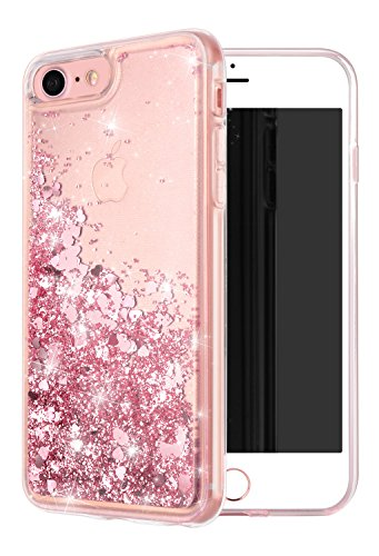 iPhone 7 Case,iPhone 8 Case, WORLDMOM Double Layer Design Bling Flowing Liquid Floating Sparkle Colorful Glitter Waterfall TPU Protective Phone Case for iPhone 7 (2016) / iPhone 8 (2107), Rose Gold
