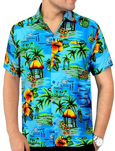 LA LEELA Likre Aloha Dress Shirt Teal Blue 359 Large   Chest 44