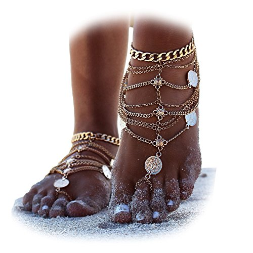 Chain Silver Toe Ring (2Pcs Boho Vintage Silver Tone Gold Tone Coin Blessing Symbol Tassel Indian Anklets Foot Jewelry (Gold))