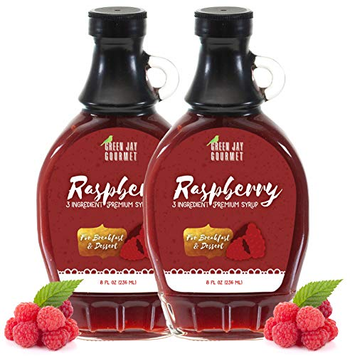 Green Jay Gourmet Raspberry Syrup - 3 Ingredient Premium Breakfast Syrup with Fresh Raspberries, Cane Sugar & Lemon Juice - All-Natural, Non-GMO Pancake Syrup, Waffle Syrup & Dessert Syrup - 16 Ounces ()