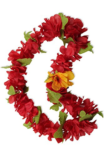 Hawaii Luau Party Artificial Fabric Royal Lei Red -
