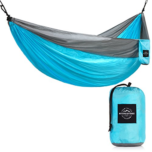 Mathena Outdoors Double Nylon Camping Hammock – Double Size Hammock | Great for Backpacking, Camping, Hiking, Climbing or Survival | Lightweight | Strong Parachute Nylon | Easy Setup (Aqua and Gray)