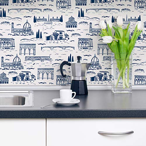 Flipside Firenze Toile Removable Pre-Pasted Wallpaper - Each Roll is 18 ft. Long x 18 in. Wide - Safe for Walls - Easy to Apply & Extremely Easy to Remove