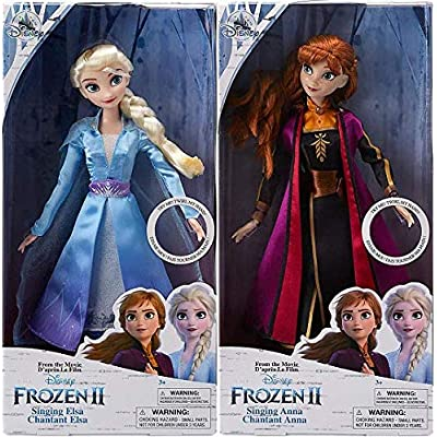 "Anna & Elsa Singing Doll Set Frozen 2 11"" Each: Toys & Games"