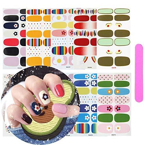 10 Sheets Full Wraps Self-Adhesive Nail Polish Stickers With 1Pcs Nail File, Kalolary DIY Self-Adhesive Avocado Flower Rainbow Nail Art Stencil Strips for Women Girls Valentine