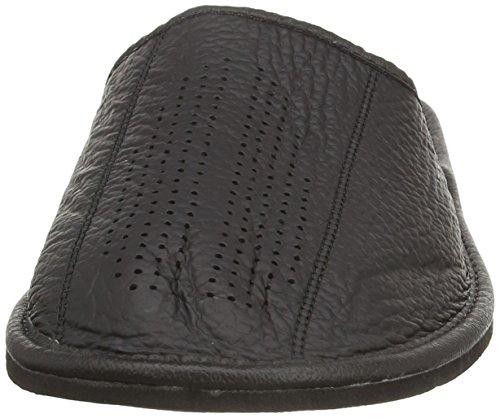 Auténtica piel de hombres zapatillas, chanclas, Mulas con suela anatómica o forro de lana. Varios colores negro