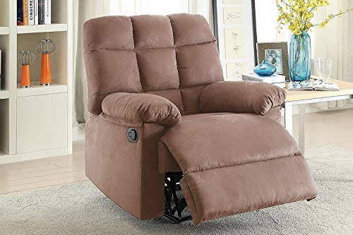 Modern Peat Microfiber Recliner Chair with Square Tufting - Chair Microfiber Peat