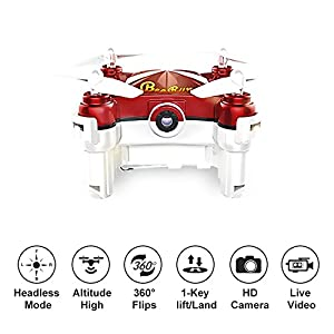 Mini Drone with Camera Live Video 2.4GHz Wifi FPV RC Quadcopter with Headless Mode, Red