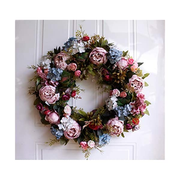 Liveinu Christmas Cedar Wreath with Berries Grapevine Wreath Base for Front Door Marion Winter Berry Wreath Indoor Wall Décor Blooming Peonies Hydrangea Blue Pink 21 Inch
