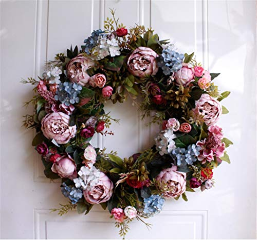 Liveinu Christmas Cedar Wreath with Berries Grapevine Wreath Base for Front Door Marion Winter Berry Wreath Indoor Wall Décor Blooming Peonies Hydrangea Blue Pink 21 -