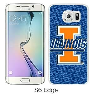Popular Samsung Galaxy S6 Edge Cover Case ,Ncaa Big Ten Conference Football Illinois Fighting Illini 17 White Samsung Galaxy S6 Edge Case Hot Sale And Unique Designed Phone Case