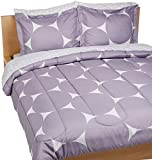 AmazonBasics 7-Piece Bed-In-A-Bag Comforter Bedding Set - Full/Queen, Purple Mod Dot, Microfiber, Ultra-Soft