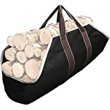 Amagabeli Fireplace Carrier Waxed Canvas Fire Place Sturdy Wood Carring Bag, Canvas, Black, Canvas Log Carrier