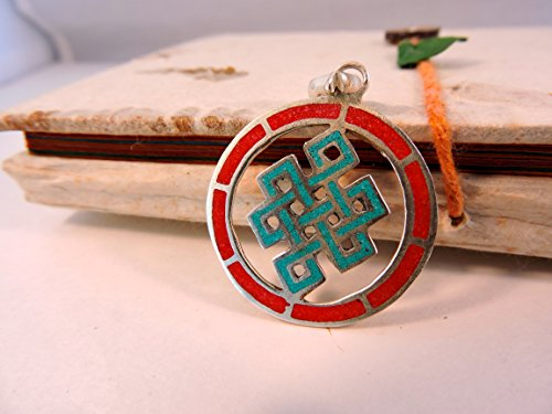 Handmade Tibetan Turquoise Coral Brass Eternal Endless Knot Pendant Free Silk Draw String Pouch