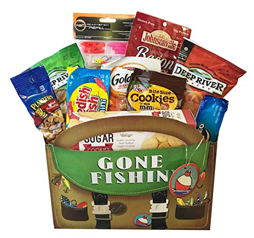 Man Basket - Fathers Day Gifts Basket With Snack Foods - Gift Basket For Fathers Day - Perfect For Men, Mens, Dad, Grandfather, Father, Son, Husband (Snacks - Gone (Gone Fishing Gift)
