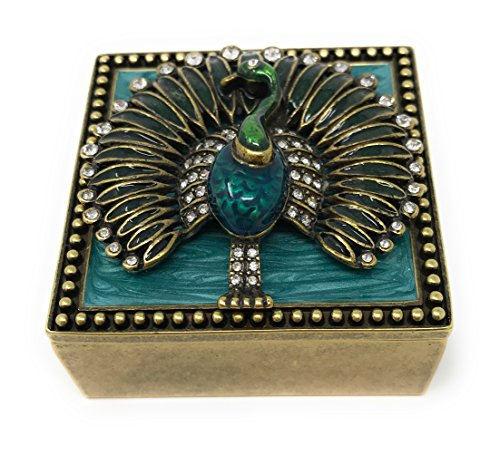 Austrian Crystal Jewelry Trinket Box (Enameled Peacock Mini Square Trinket Box by Kubla Craft, Accented with Austrian Crystals)